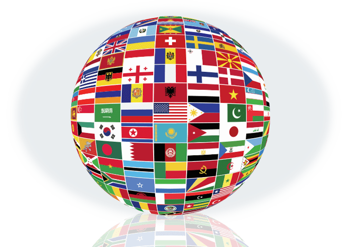 Globe made out of flags resembling internationality